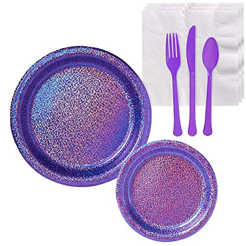 Party City Prismatic Purple Tableware Party Supplies for 16 Guests, Include Purple Plates, White Napkins, and Purple Utensils