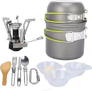 G4Free Camping Cookware Mess Kit 4/13 Piece Hiking Backpacking Picnic Cooking Bowl Non Stick Pot Pan Knife Spoon Set
