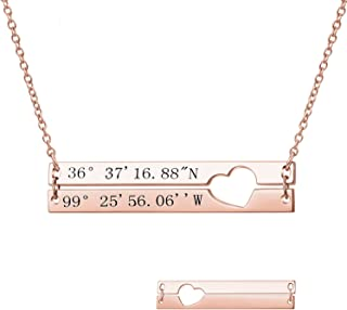 LONAGO Personalized Double Layered Bar Heart Necklace Custom Engraved Made with 2 Names Coordinates Nameplate Pendant