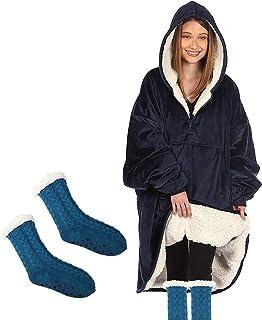 هوديي بطانية ستوكات كبير جدا مع بطانية سحاب ومقاومة للاهتراء شيربا،مقترن بزوج من الجوارب الكشمير الدافئة والسميكة،حجم واحد