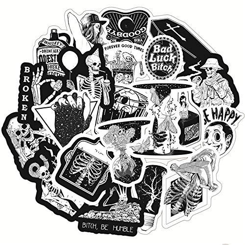 BLOUR 50 Uds Pegatinas de Estilo gótico con Calavera en Blanco y Negro, Equipaje de Viaje, Guitarra, Nevera, portátil, Impermeable, Pegatinas clásicas geniales para Chico