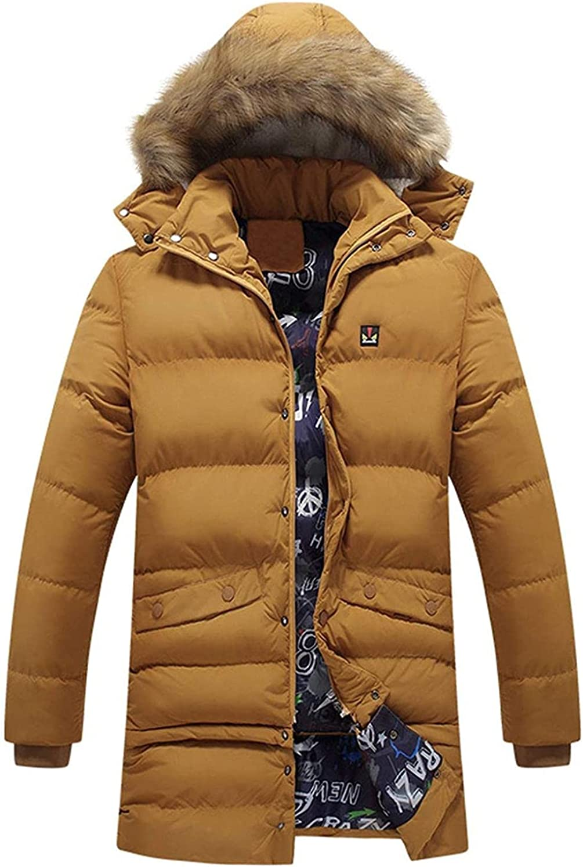 Men's Winter Parka Removable Fur Hooded Thicken Down Alternative Jacket