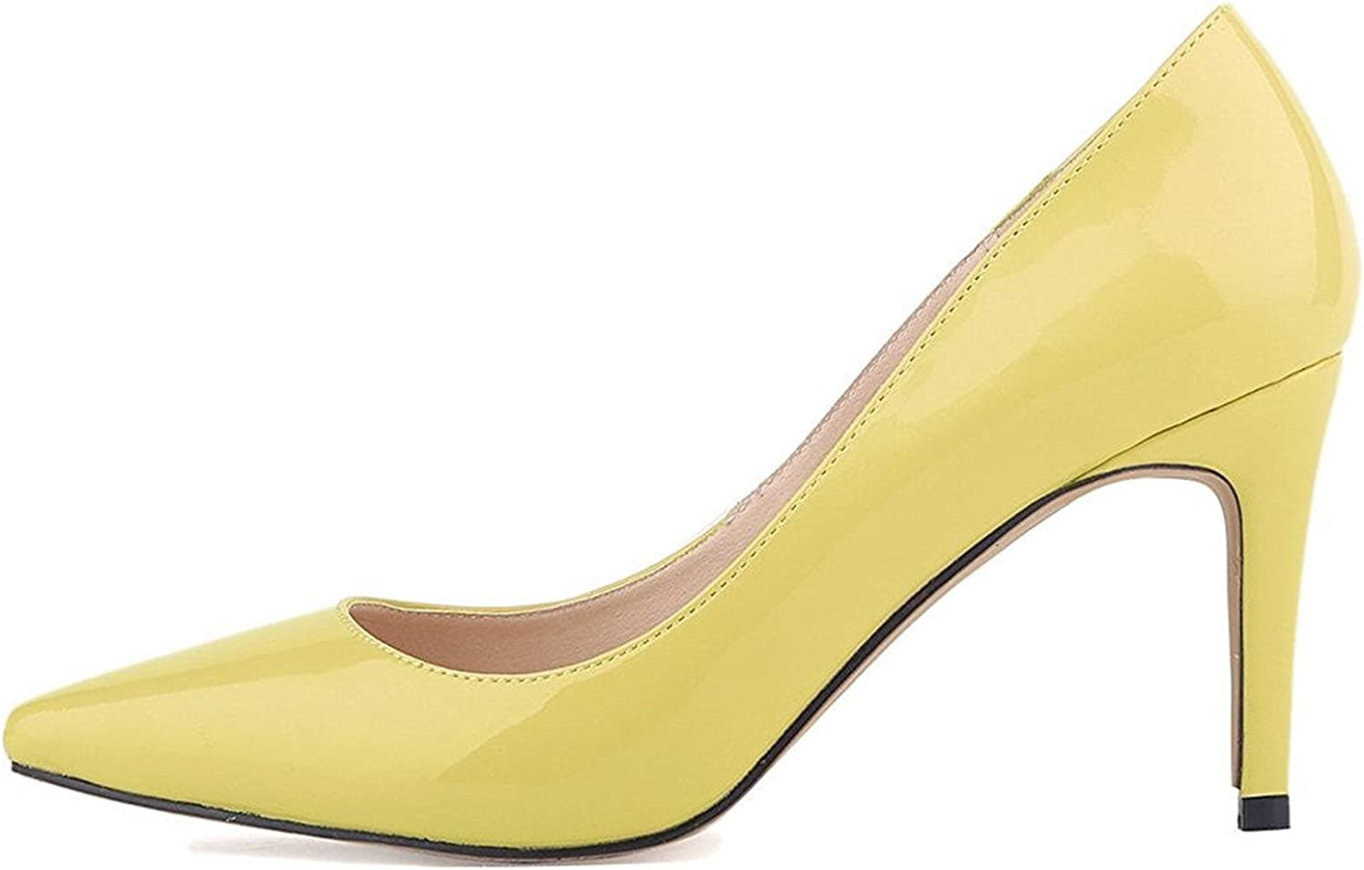 Oppicong Womens shoes Closed Toe High Heels Women's Pointed Slender Leather Pumps Yellow,8cm heels9.5 B(M) US