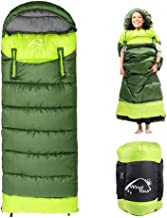 0 Degree Wearable Sleeping Bag for Adults Compact Lightweight Cold Weather Mummy Sleeping Bags for 2-3 Season Camping Backpacking, Fits 5°F ~ 50°F, 1.95KG More Warmer