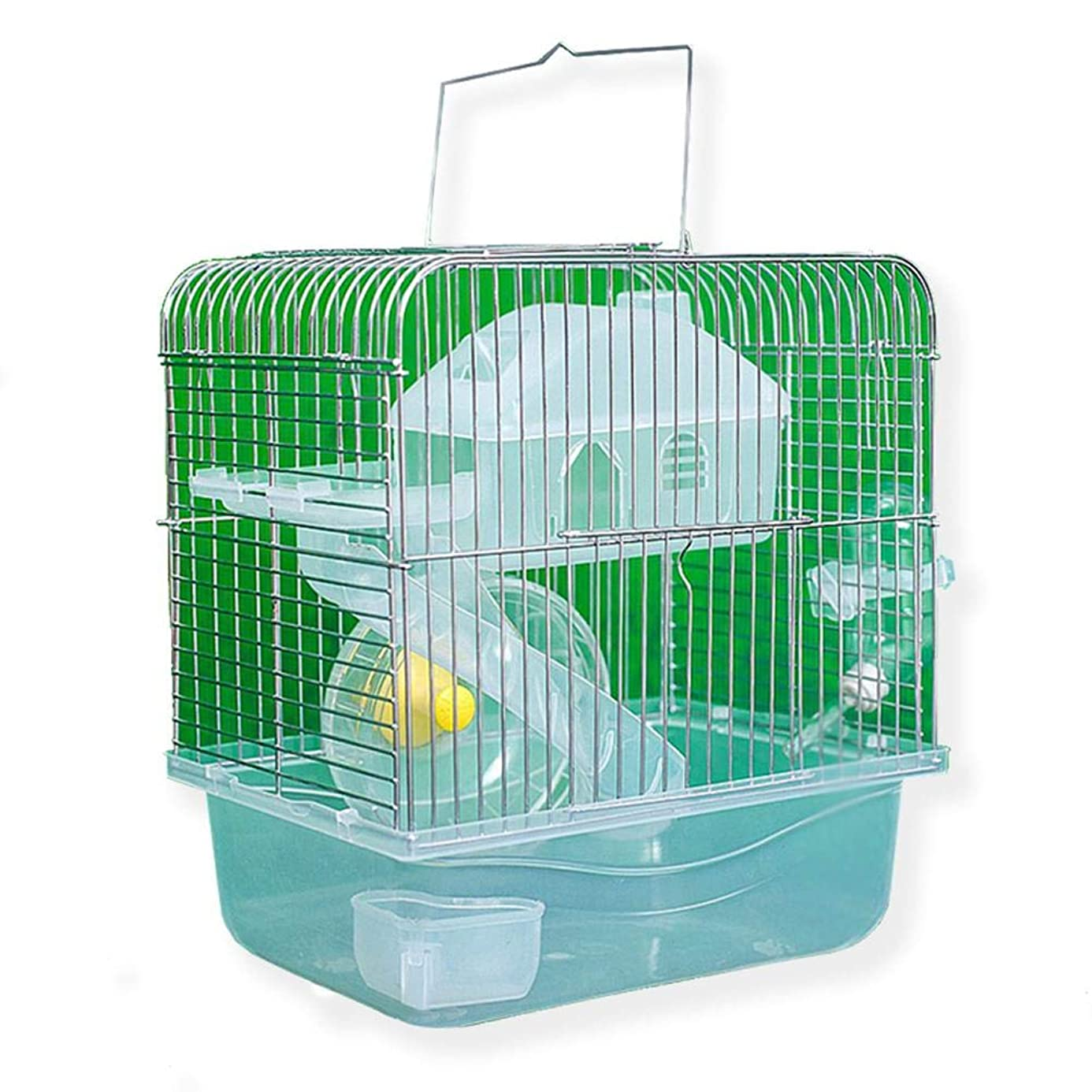 S-World 4Home Hamster Cage - Stainless Steel Pet Cage Transparent Crystal Color Hamster Cottage Double Layer House for Hamster Golden Hamster Pet