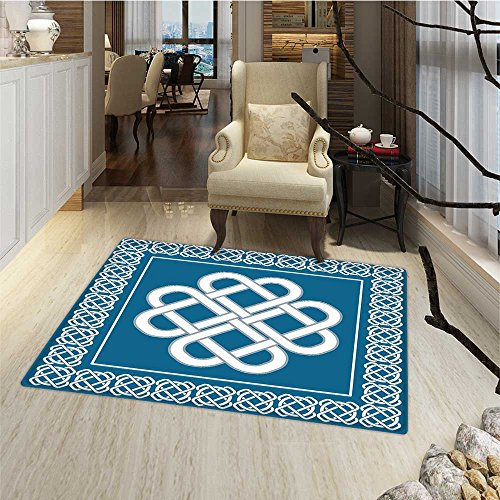 Irish Door Mat Outside Celtic Love Knot Good Fortune Symbol Framework Border Historical Amulet Design Bath Mat Bathroom Mat with Non Slip 30'x48' Dark Aqua White