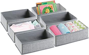 mDesign Soft Fabric Dresser Drawer and Closet Storage Organizer Set for Child/Baby Room Nursery Playroom Bedroom ? Rectang...