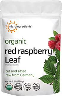 Organic Red Raspberry Leaf Tea, Dried Cut and Sifted, All Natural, Raw from Germany, Support Immune System, Non-GMO, No Gl...