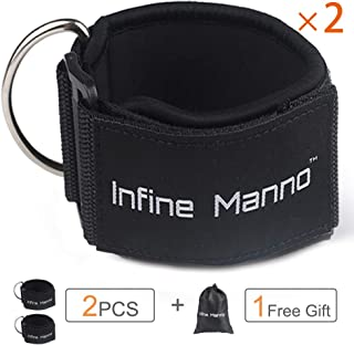 Infine Manno Ankle Straps for Cable Machines, 2PCS Adjustable Double Rings Straps with Comfort fit Neoprene for Glute & Leg Workouts - for Women & Men