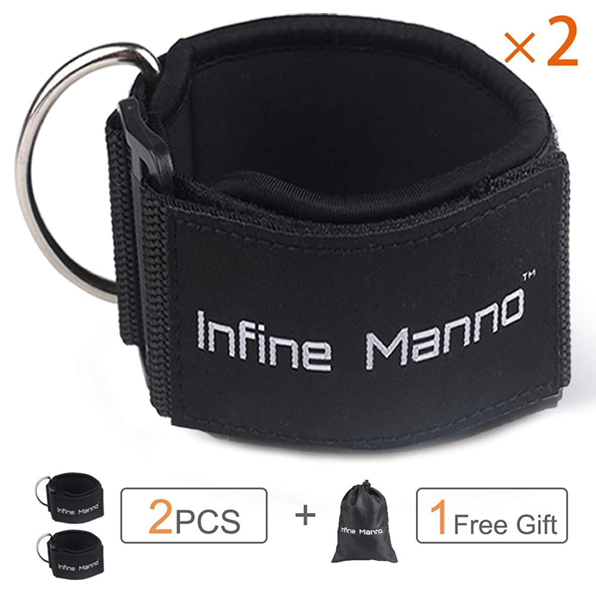 Infine Manno Ankle Straps for Cable Machines, 2PCS Adjustable Double Rings Straps with Comfort fit Neoprene for Glute & Leg Workouts - for Women & Men qjsqabldjcsljhcf