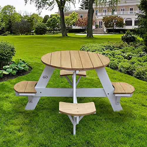 Axi UFO - Juego de mesa y sillas de picnic para niños (120 x 120 x 56 cm, madera con certificación FSC)