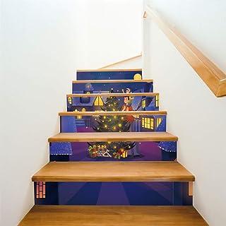 Navidad 3D autoadhesivo Escalera Pegatinas- impermeable extraíble del peldaño etique cáscara y palillo pared pegatinas decoración del hogar 40