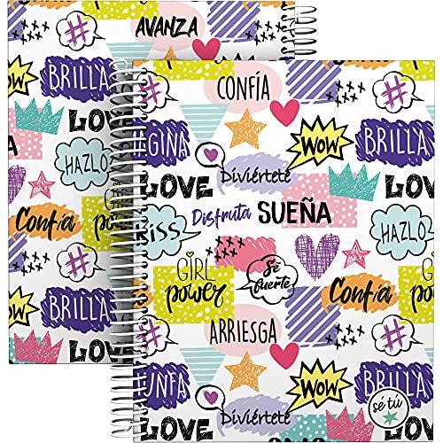 Grafoplás 16512621. Cuaderno A5, Espiral, Tapa Dura Cartón Forrado, Cuadricula 5x5, Certificado FSC, Colección Sé Tú, Shine