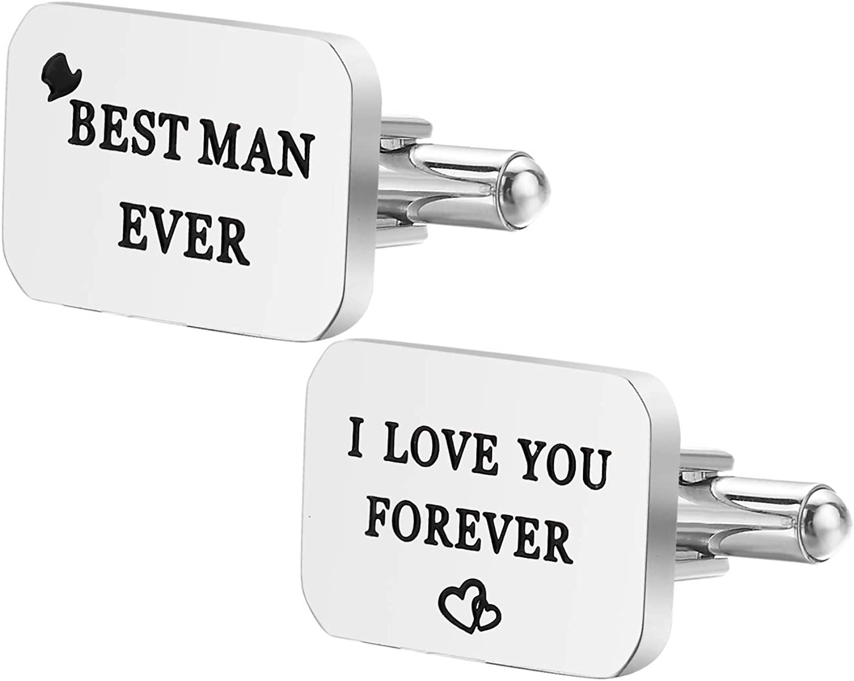 Dec.bells Jewellery Stainless Steel Men's Cufflinks Best Man Ever I Love You Forever Shirt Cuff Links Set for Wedding Bussiness