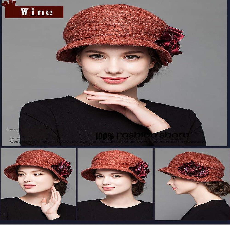 HAXGL Damen Hut Damen Hut Hut Hüte Für Herbst Winter Floral Warmen Floppy Hat Femme, Rotwein, (56-58 cm)