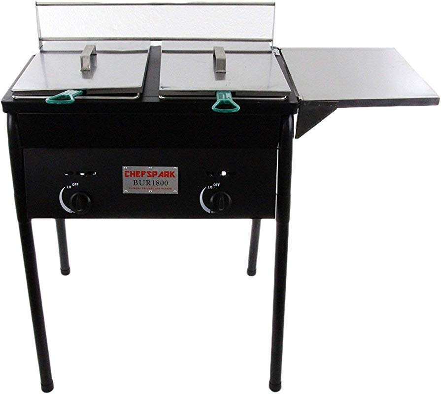 Chefspark Outdoor Two Tank Fryer 2 Baskets Stainless Steel Oil Tank