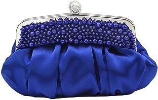 Shoulder Bag Women's Classic Beaded Handbag Evening Dress Banquet Bag Bride Bridesmaid Marriage Dress Bag Princess Ladies Bag Handbag Clutch (Color : Blue)