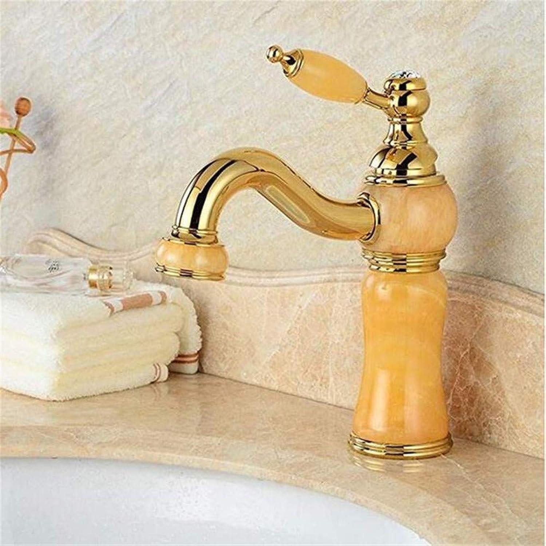 Wasserhahnbecken Wasserhahn Waschbecken Mischbatterie Vintage Mixer Einhand Wasserhahn Waschbecken Becken Wasserhahn Messing Mixer Gebogener Mund Goldene Jade