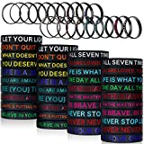 60 Pieces Inspirational Rubber Bracelet Motivational Quote Silicone Bracelets 20 Styles Black Stretch Wristbands for Men Women Teens