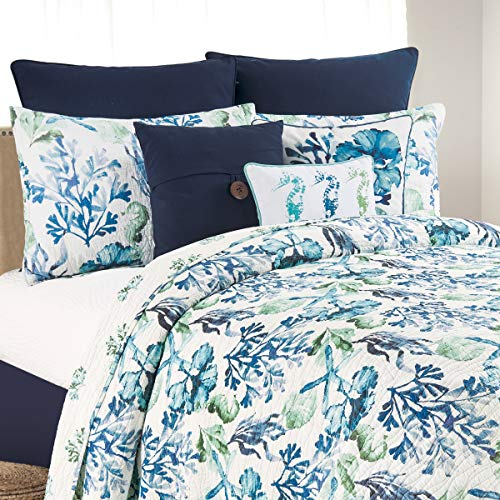 C&F Home Bluewater Bay Full Queen Cotton Quilt Set All-Season Oversized Reversible Nautical Coastal Bedspread 3 Pcs with Shams Full/Queen 3 Piece Set Blue