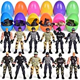 FUN LITTLE TOYS 12 Pack Easter Eggs Prefilled with Army Men and Elite Force Army Ranger Action Figures, Easter Basket Stuffers, Easter Egg Fillers