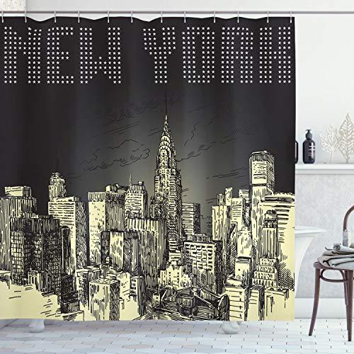 ABAKUHAUS New York Douchegordijn, Grunge Empire State NYC, stoffen badkamerdecoratieset met haakjes, 175 x 240 cm, grijs Geel