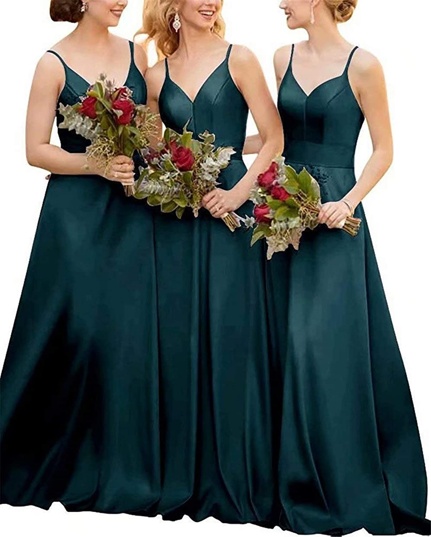 EEFZLWomen's Satin Long Bridesmaid Dresses Spaghetti Straps V Neck Formal Prom Wedding Party Dresses