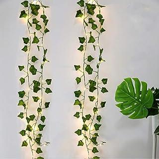 Guirlande Feuille, [2 PCS] Lierre Guirlande lumineuse, Plantes Artificielles avec 20 LED et Vert Feuille, Chaîne Lumières ...