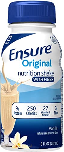 Ensure Original Nutrition Shake with Fiber, 9g High-Quality Protein, Meal Replacement Shakes, 8, 24 Count, Vanilla, 1...