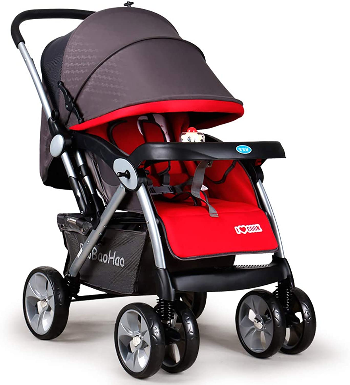 Guo@ Baby Stroller Light Folding Shock Can Be Sitting Two-Way Four-Wheeled Newborn Stroller