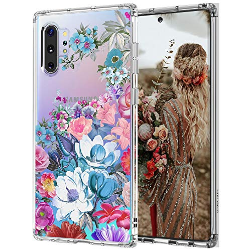 for Galaxy Note 10 Plus Case,Galaxy Note 10 Plus 5G Case, MOSNOVO Peony Floral Flower Crystal Clear Design Shock Absorption Bumper Soft TPU Cover Case for Samsung Galaxy Note 10 Plus 5G