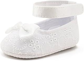 324f917d3b581 DELEBAO Chaussure Premier Pas Fille Blanc Chaussures de Bébé Baptême  Chausson Bebe Semelle Souple en Fleur