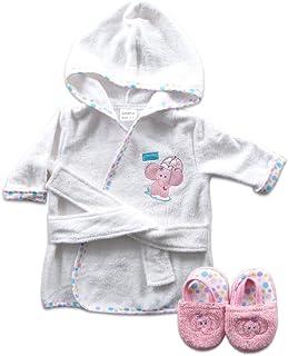 Luvable Friends Unisex Baby Cotton Terry Bathrobe, Pink Elephant, One Size