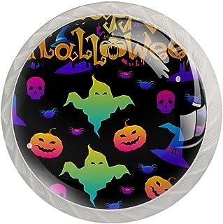 Boutons De Tiroir Verre Cristal Rond Poignées d'armoires tirer 4 pièces,abstrait arc-en-ciel joyeux halloween