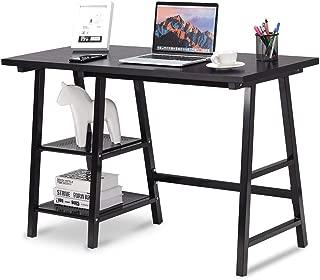 Tangkula Writing Desk Computer Desk, Trestle Desk Study Desk, Laptop PC Desk, Modern Wood Vintage Style Reversible Storage Shelf, Home Office Furniture Study Writing Table