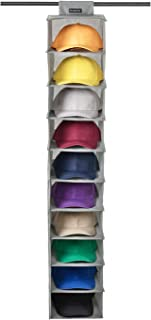 SivaLife Hat Rack,10 Shelf Hanging Closet Hat Organizer- for Hat Storage& Protect Your Caps- Easy Hat Holder & Baseball Cap Organizer (Gray)