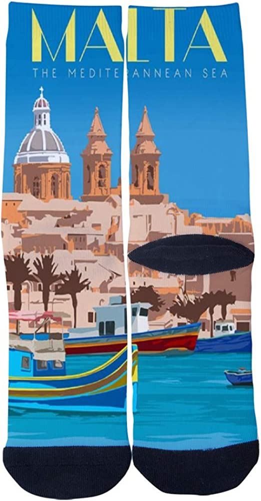 Mens Womens Custom Malta Valletta Travel Poster Socks 3D Print Novel Creative Casual Crew Socks