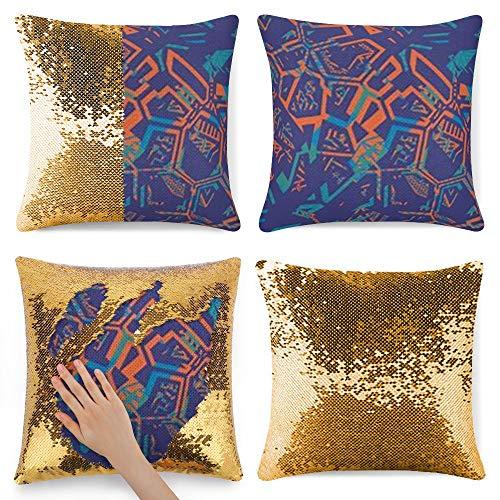 Funda de almohada con lentejuelas de sirena, 40 x 40 cm, 4 colores decorativos, funda de cojín con cremallera, funda de almohada para sofá, silla, cama, carrito (sin relleno de almohada), color azul