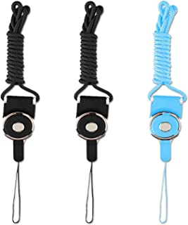 """Phone Neck Strap Lanyard Quick Release ID Holder Neck Lanyard,3 PCS 19"""" Detachable Necklace Neck Band,Office Breakaway Strings,Keychain for iPhone,ID Badge Holder with a Lanyard Hole-Black+Blue"""