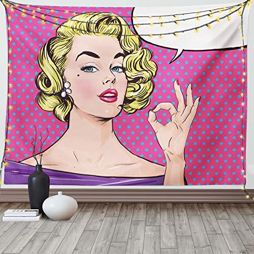 Ambesonne Vintage Tapestry, Pop Art Blonde Woman Making OK...