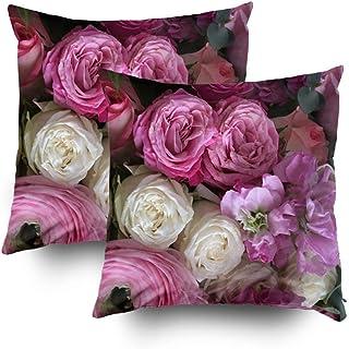 Mi funda de almohada, funda de almohada decorativa cuadrada, fundas de cojín en tonos fucsia en rosa rosa con impresión en ambos lados con cremallera invisible, juegos de decoración para el sofá del h