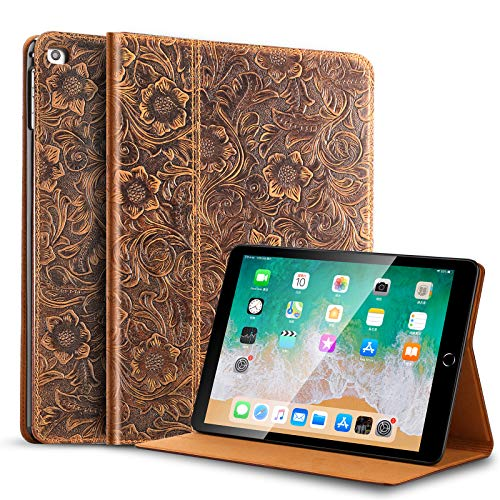 Gexmil iPad 9.7 Inch 2018 / 2017 Case, applies Cowhide Folio Cover for iPad 6th Gen / 5th Gen Genuine Leather case,Also applies to iPad Air 2 / iPad Air,Pattern-Brown