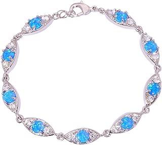 Created White Blue Orange Fire Opal Silver Plated for Women Jewelry Gemstone Bracelet