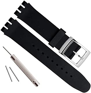 OliBoPo Silver Plated Stainless Steel Buckle Waterproof Silicone Rubber Watch Strap Watch Band