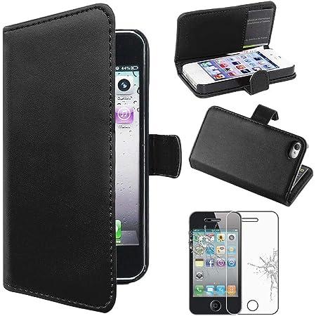 ebestStar - Coque Compatible avec iPhone 4, 4S Apple Etui PU Cuir Housse Portefeuille Porte-Cartes Support Stand, Noir Film Protection écran Verre ...