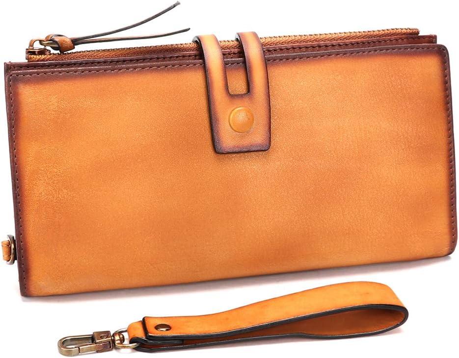 Genuine Leather Slim Wallets Vintage Bifold Long Wristl Handmade Free shipping New Free shipping on posting reviews