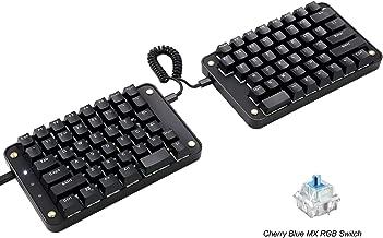 Koolertron Programmable Split Mechanical Keyboard,All 89 Keys Programmable Ergonomic Keypad with Cherry MX Blue Switch,8 Macro Keys - [SMKD62] (Cherry MX Blue Switch (White Backlit))