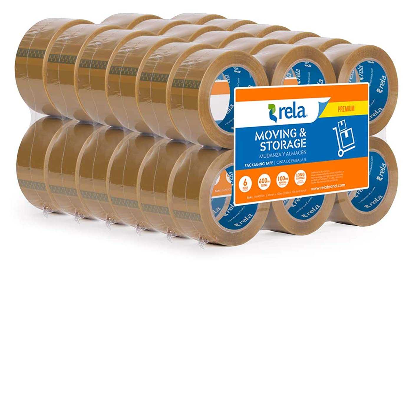 rela Moving & Storage Tan Premium Tape - (109.3 Yards x 1.88 Inch) Heavy Duty Premium Sealing Adhesive for Moving and Storage (Tan, 2