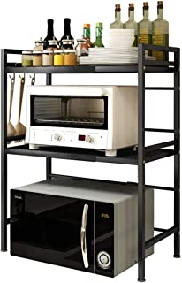 THERESA Microwave Shelf Countertop, Expandable and Height Adjustable Carbon Steel Microwave Oven Rack, 3-Tier Kitchen Coun...