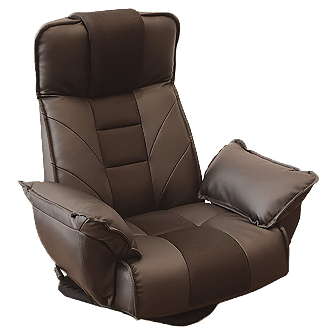 交差点緊張エキサイティングロングセラー座椅子 明光ホームテック 回転座椅子 TVが見やすい レバー式 14段階リクライニング ダークブラウン FRL-アクロスDBR(新色)